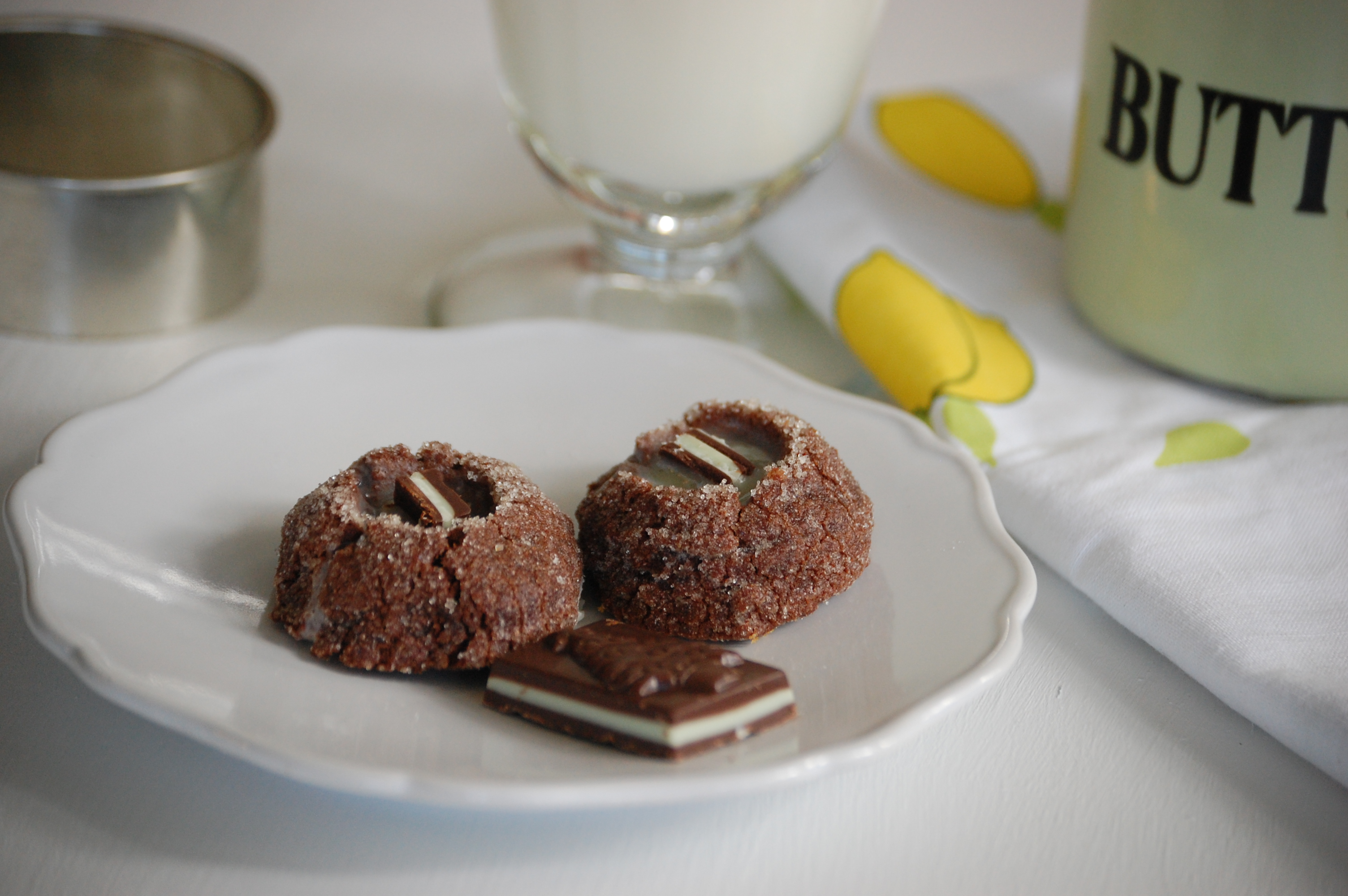 Chocolate Mint Thumb Print Cookies | Vanilla Lemonade